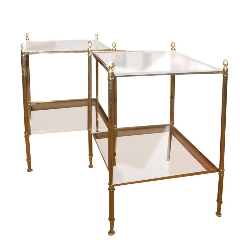 1stdibs Brass Smoked Glass French Console Table: Pair Of 1920's French Brass Side Tables