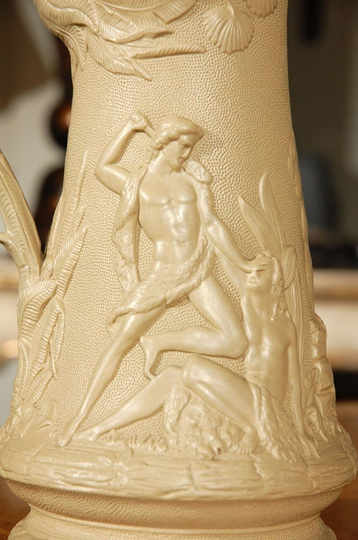 English Staffordshire Pitcher Signed by Edward Walley Cobridge, circa 1850 For Sale