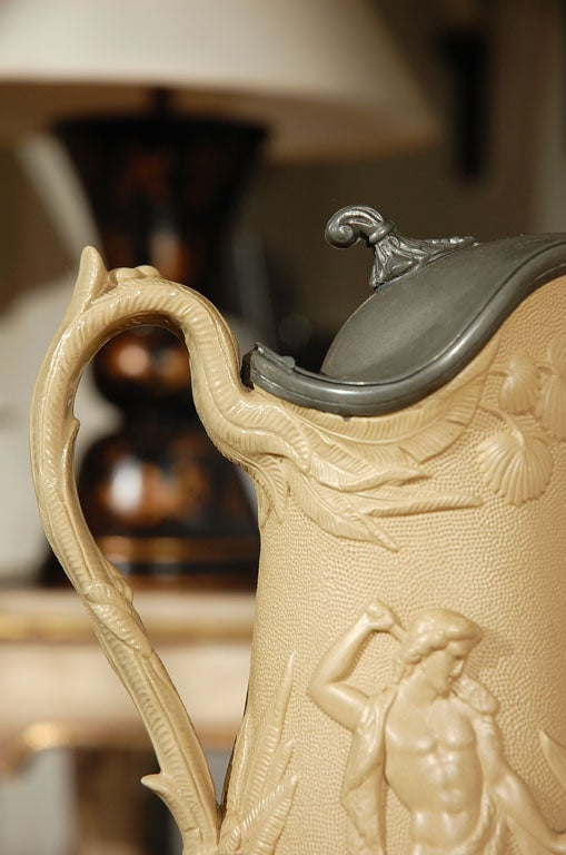 Staffordshire Pitcher Signed by Edward Walley Cobridge, circa 1850 In Excellent Condition For Sale In Los Angeles, CA