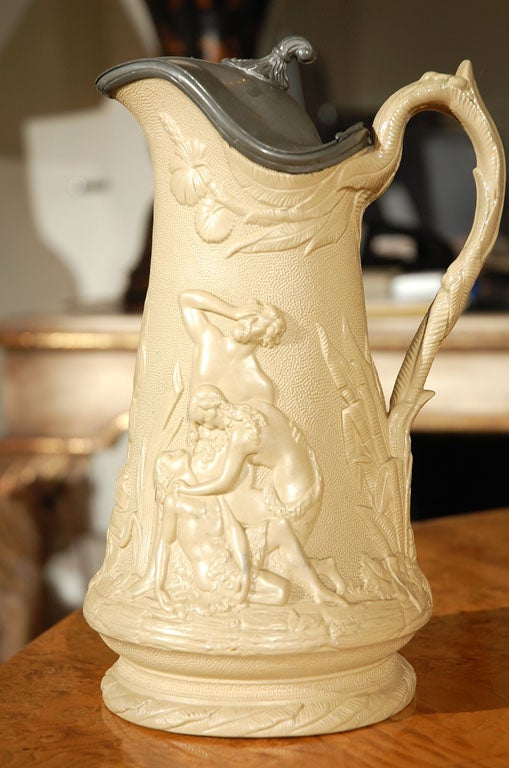 Staffordshire Pitcher Signed by Edward Walley Cobridge, circa 1850 For Sale 2