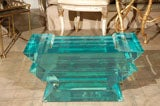 C. 1970 Lucite Glass Bench/Coffee Table image 8