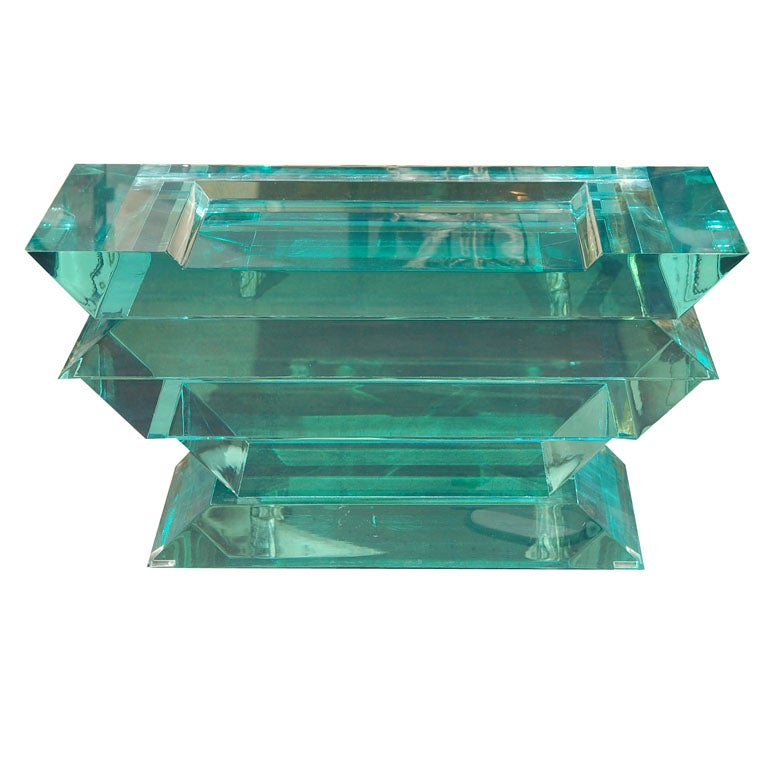 C. 1970 Lucite Glass Bench/Coffee Table