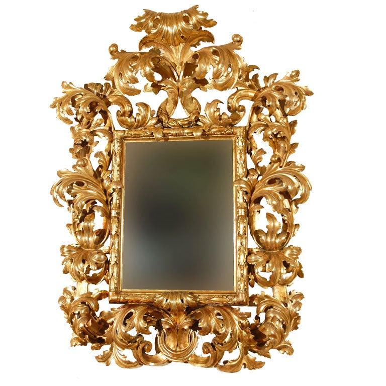 Monumental 18th Century Florentine Rococo Gilded Mirror