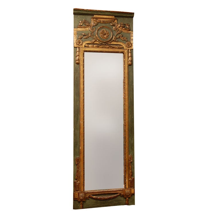 Louis XVI Painted and Parcel Gilt Mirror