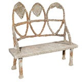C. 1900 French Carved Stone Bench with Mosaic Tile Inlay