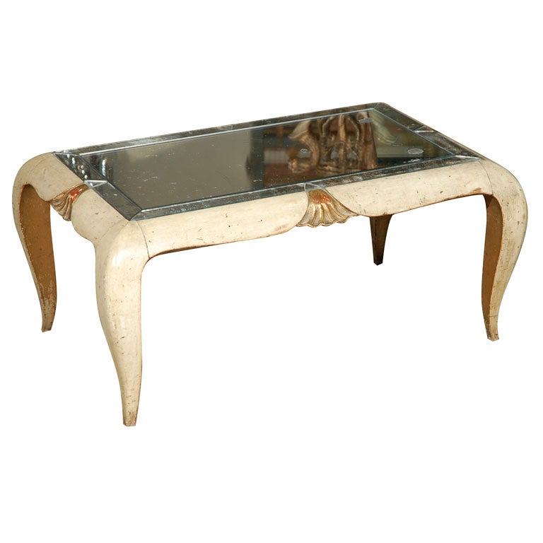 French Carved Coffee Table with Mirrored Top, circa 1930