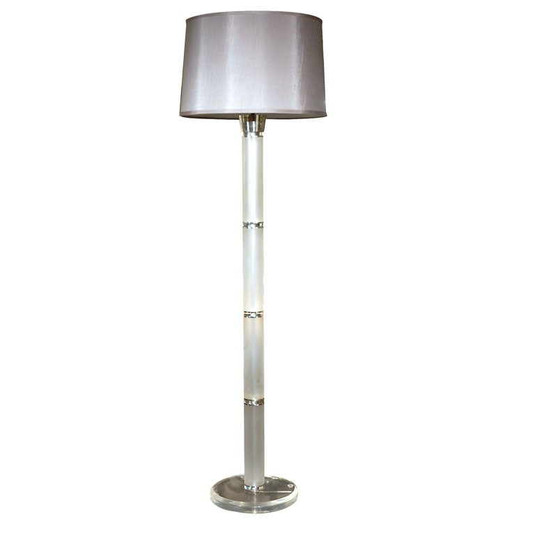 Vintage lucite and chrome floor lamp at 1stdibs for Tecton chrome floor lamp