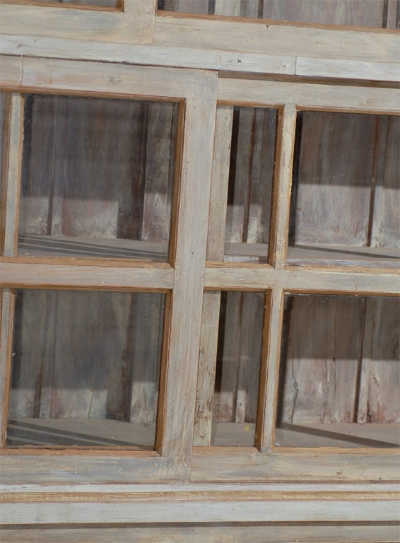 Large painted wood sliding glass door china cabinet for Large sliding glass doors for sale