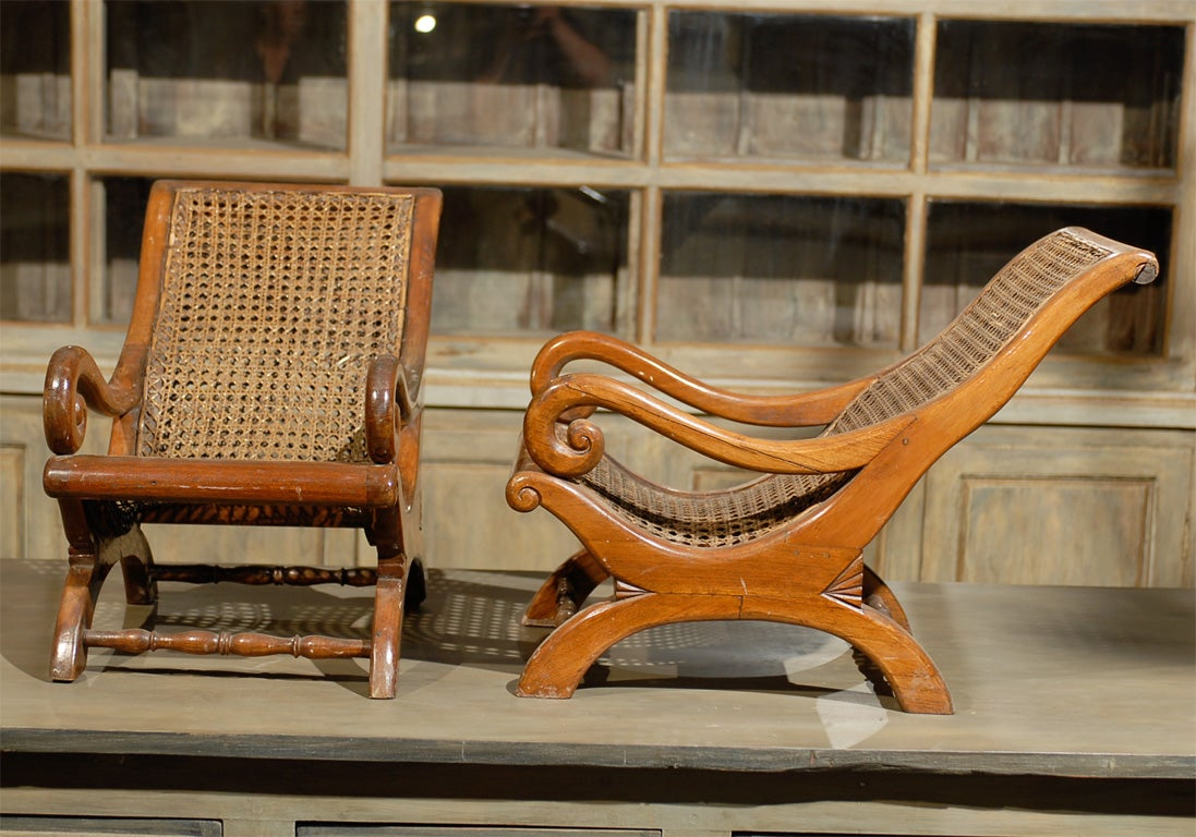 Wood Pair of 19th Century British Colonial Child's Chairs For Sale