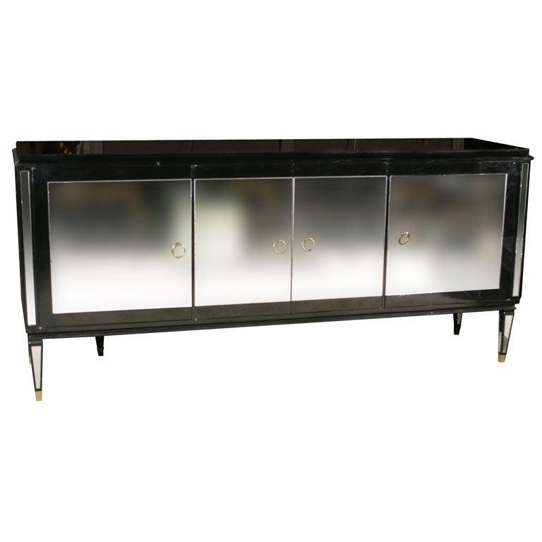 Maison jansen ebonized glass front sideboard at 1stdibs for Sideboard glasfront