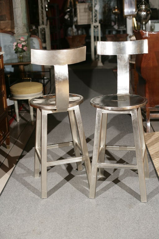 Two Sets Of Steel Art Deco Style Bar Stools At 1stdibs