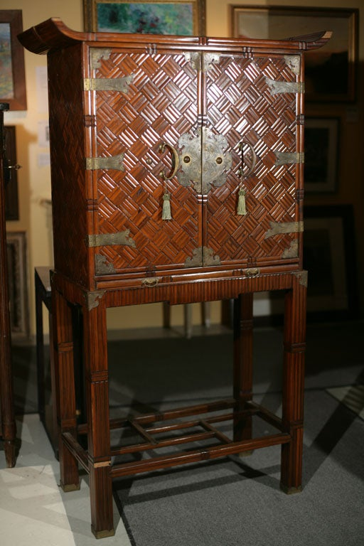Oriental Bamboo Bar Cabinet At 1stdibs