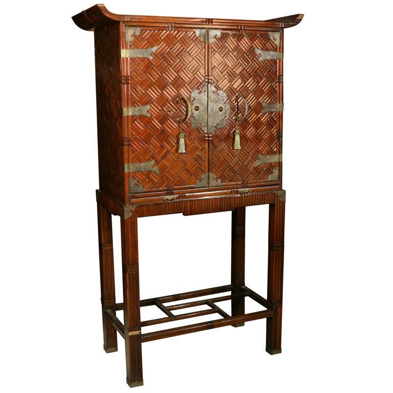 Oriental Bamboo Bar Cabinet At 1stdibs