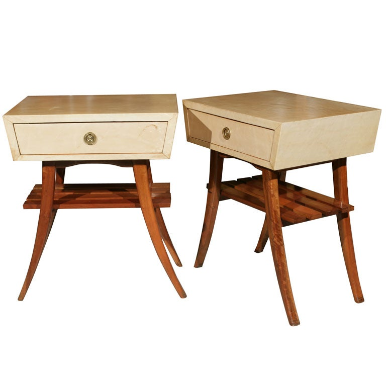 Pair of Art Deco Gio Ponti Style Parchment Stands / Bedside Table or End Tables