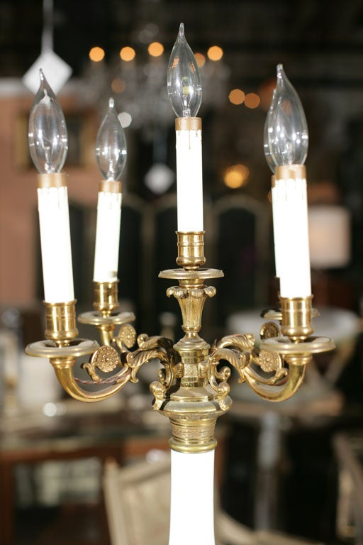 French Pair of Milk Glass and Bronze Candelabra Lamps For Sale
