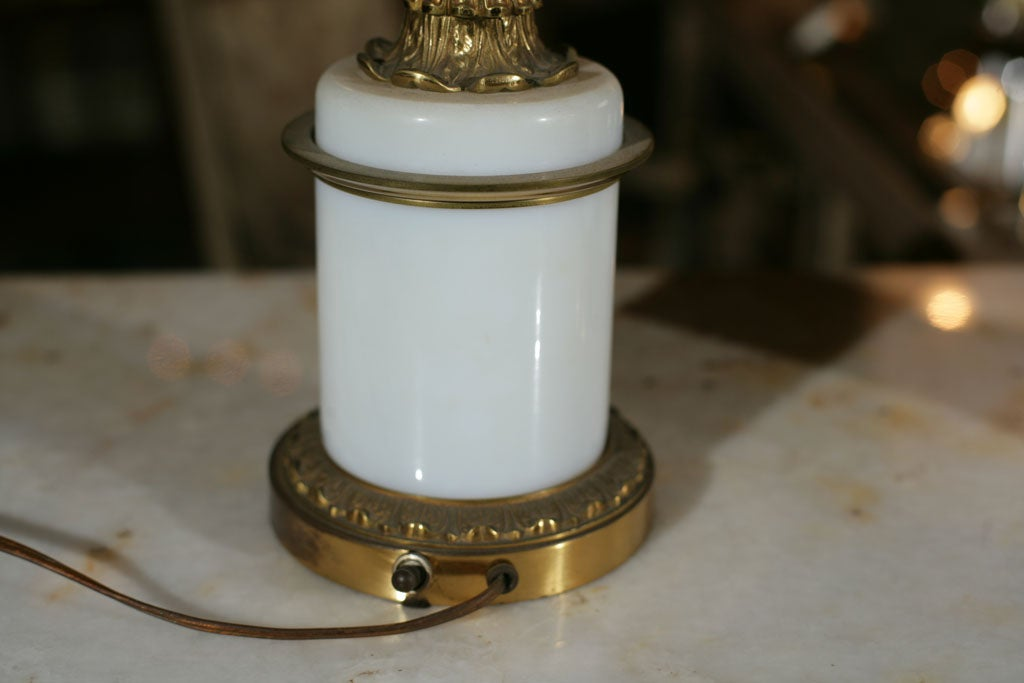 20th Century Pair of Milk Glass and Bronze Candelabra Lamps For Sale
