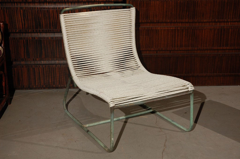 Walter Lamb Sleigh Chairs Ottoman And Beach Table At 1stdibs