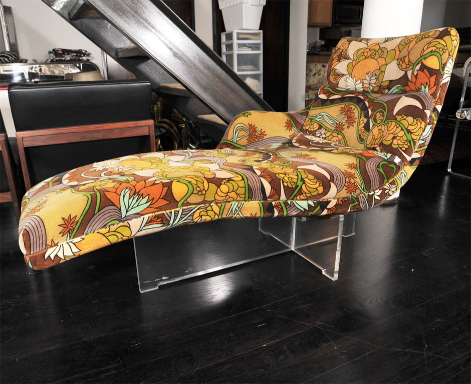 kagan erica chaise in original jack lenor larsen fabric. Black Bedroom Furniture Sets. Home Design Ideas