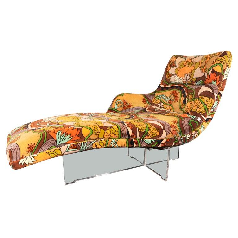 Kagan erica chaise in original jack lenor larsen fabric for Chaise de calvin