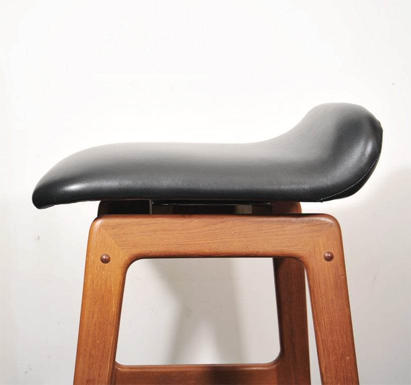 3 Danish Bar Stools In Teak Leather And Brass Footrails