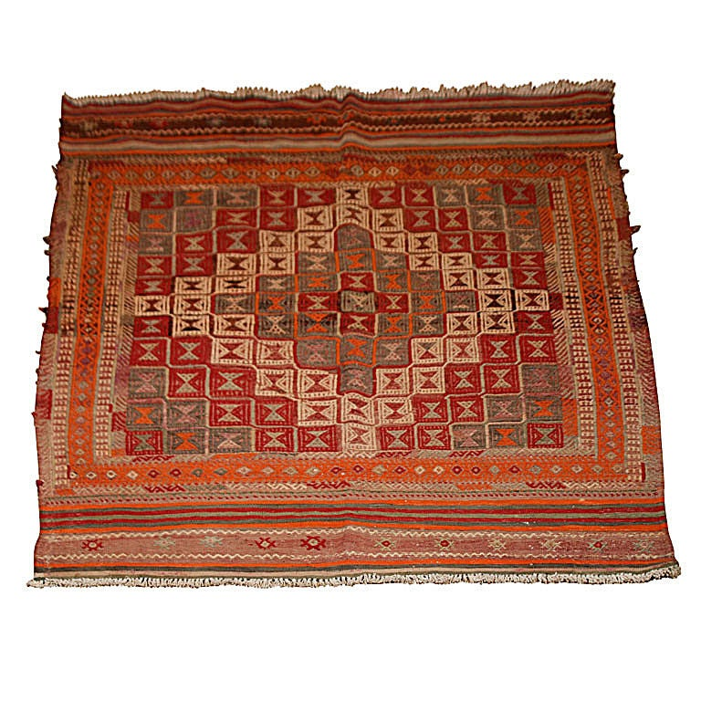A Vintage Kilim Carpet with Geometric Motif and Striped Border at 1stdibs