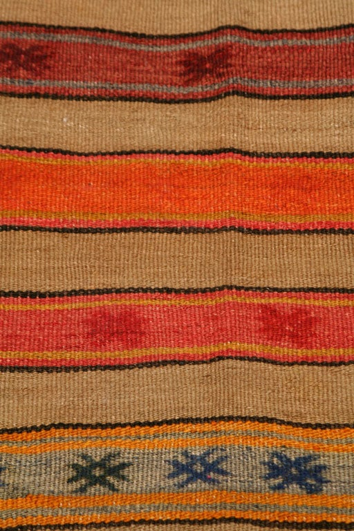 A Vintage Kilim Carpet With Stripe And Star Pattern For