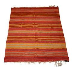 A Vintage Kilim Carpet with Striped Motif