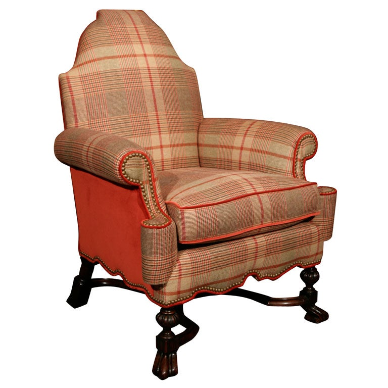 A louis xiv style armchair with tartan upholstery at 1stdibs for Chaise style louis xiv
