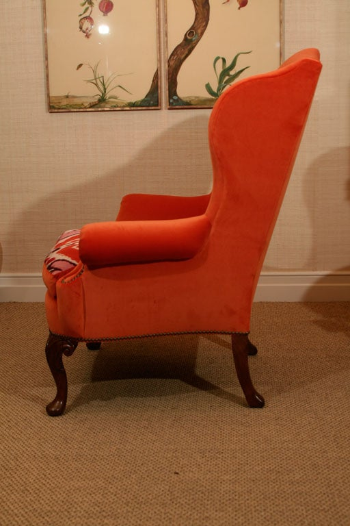Cotton Late 19th Century Walnut Wing Armchair on Moulded Cabriole Legs For Sale