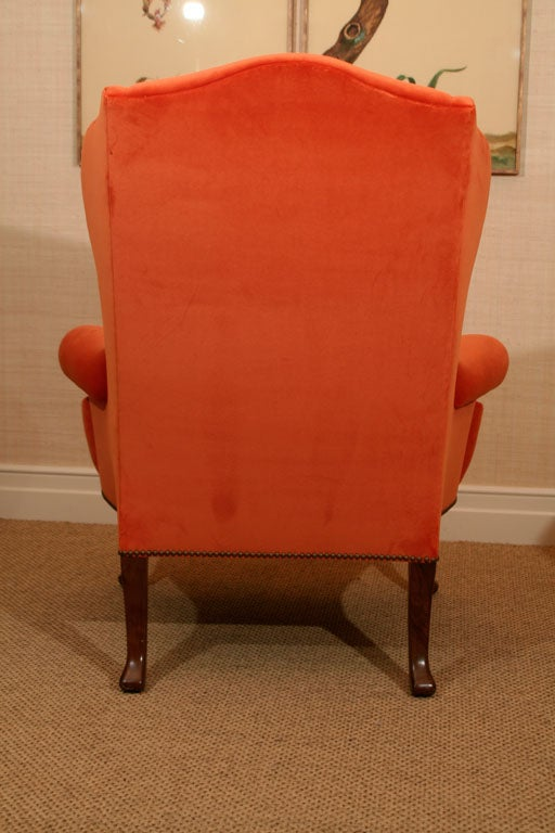 Late 19th Century Walnut Wing Armchair on Moulded Cabriole Legs For Sale 2