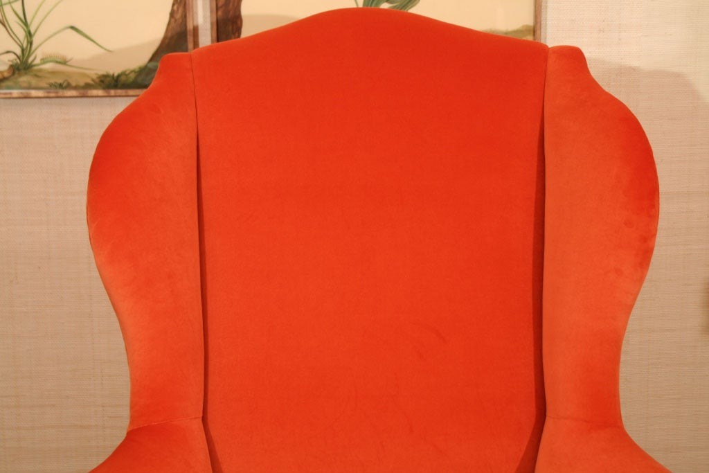 Late 19th Century Walnut Wing Armchair on Moulded Cabriole Legs For Sale 4