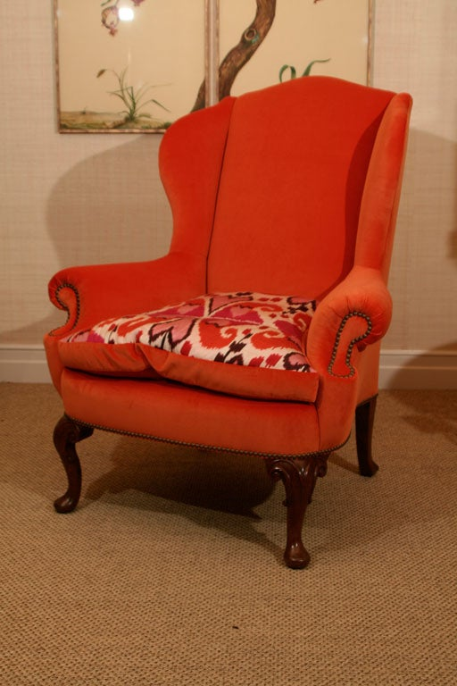 Late 19th Century Walnut Wing Armchair on Moulded Cabriole Legs For Sale 5