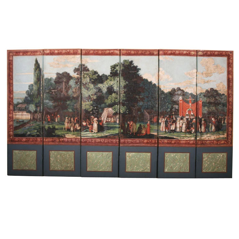 Dufour French Wallpaper Panel Screen, Circa 1815