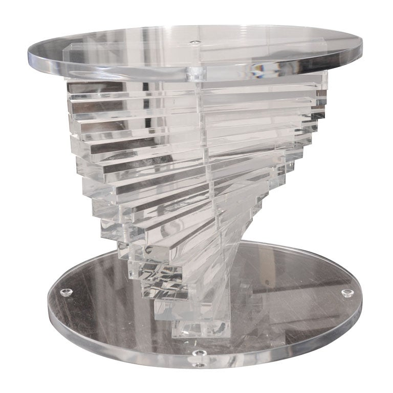 spiral stacked lucite coffee table base at 1stdibs