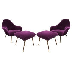 """PAIR OF PURPLE LOUNGE CHAIRS WITH OTTOMANS BY """"STEINER"""""""
