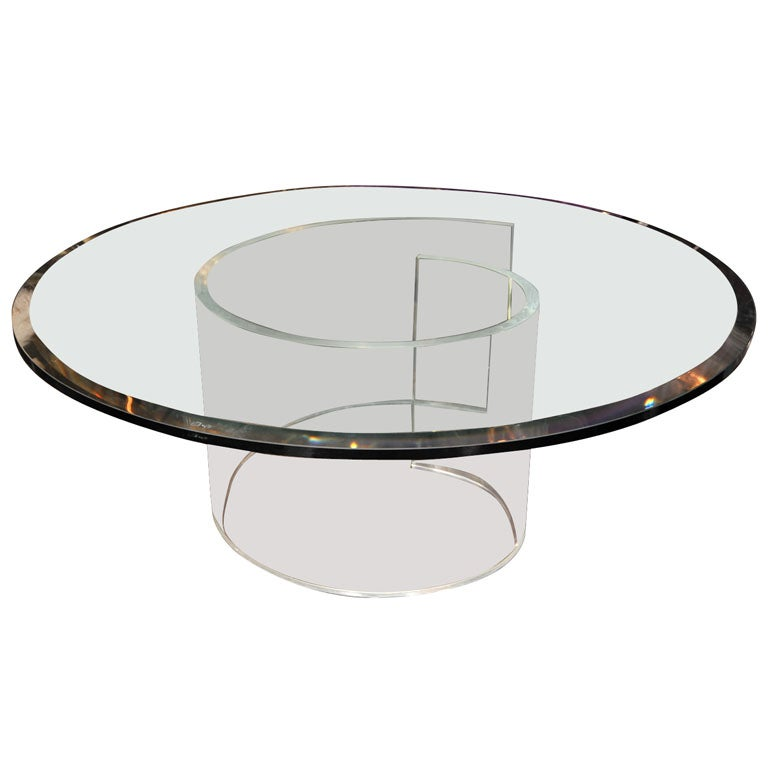 VLADIMIR KAGAN CURVED LUCITE BASE COFFEE TABLE At 1stdibs