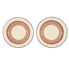 A Pair of Greek Key Arcaded Creamware Dessert Plates