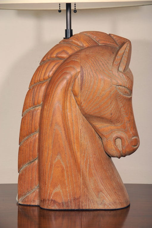Wooden Head Table ~ A billy haines style wooden horse head table lamp at stdibs