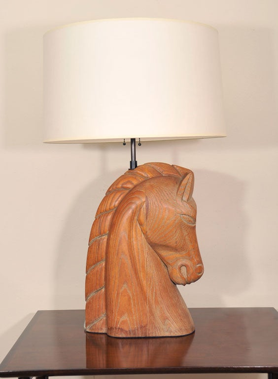 A billy haines style wooden horse head table lamp at stdibs
