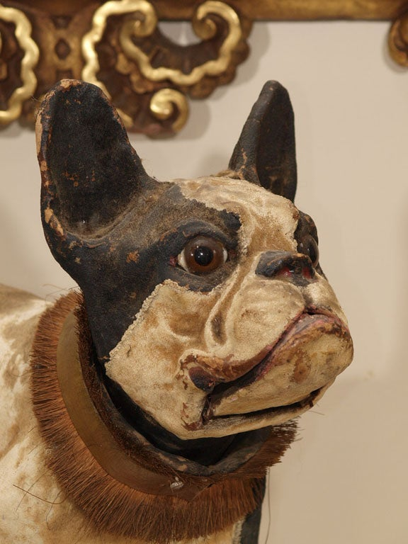 TALKING PAPIER MACHE FRENCH BULLDOG PULL TOY image 3