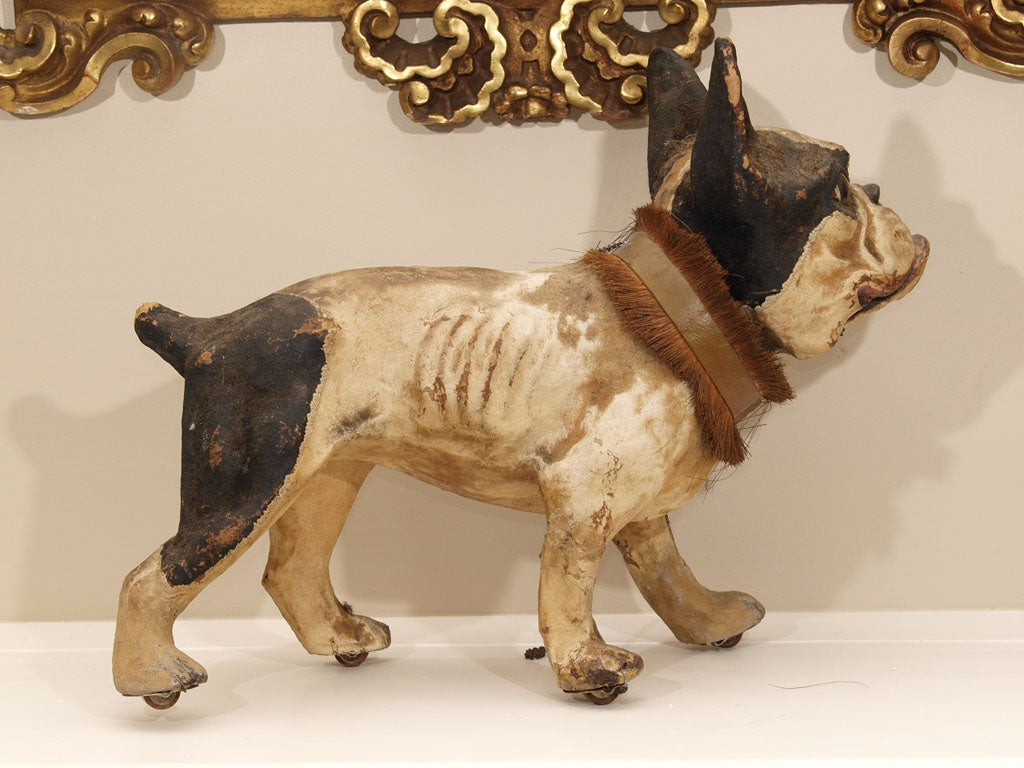 TALKING PAPIER MACHE FRENCH BULLDOG PULL TOY image 6