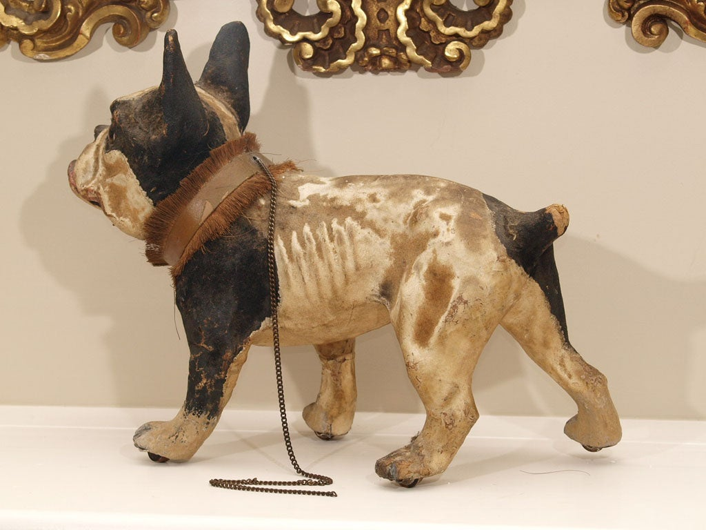 TALKING PAPIER MACHE FRENCH BULLDOG PULL TOY image 9