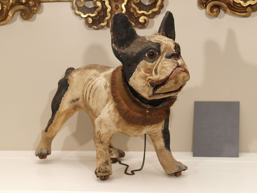 TALKING PAPIER MACHE FRENCH BULLDOG PULL TOY image 2