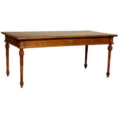 Large Neoclassical Italian Writing Table with Leather Top.