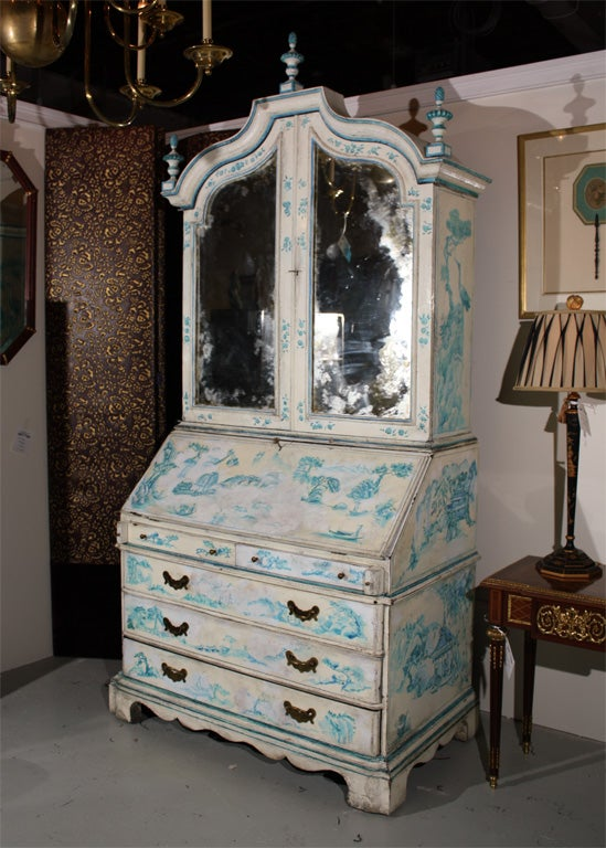 A very chic, blue and white hand painted secretary cabinet, in the Chinoiserie style. Fine custom quality interior.