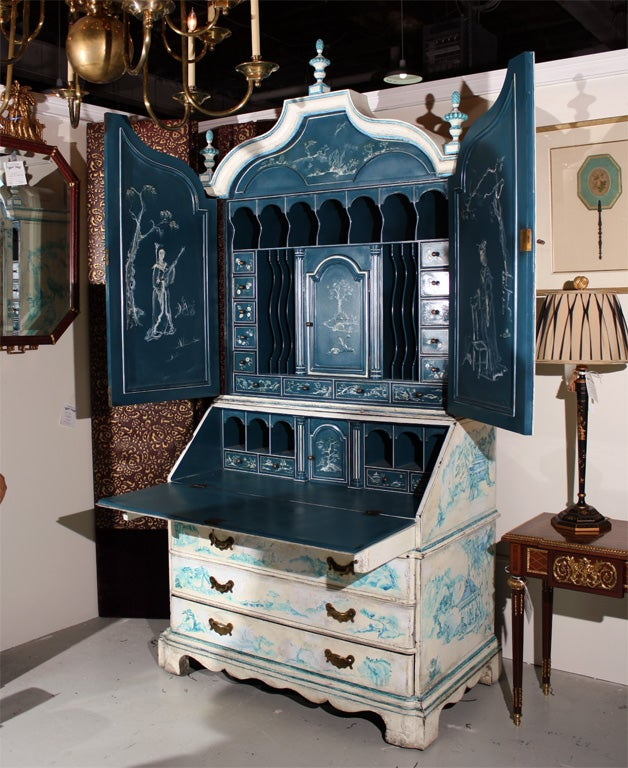 20th Century Painted Chinoiserie Style Secretary For Sale
