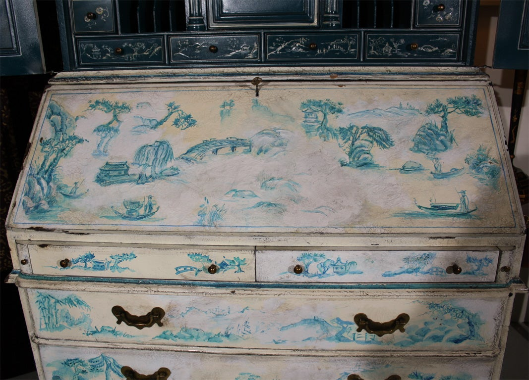 Painted Chinoiserie Style Secretary For Sale 5