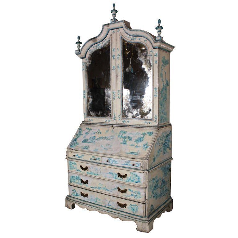 Painted Chinoiserie Style Secretary For Sale