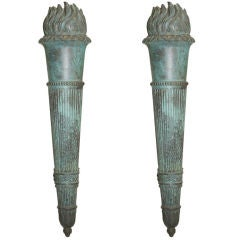 Pair of Cast Bronze Torch Sconces from Warner Estate