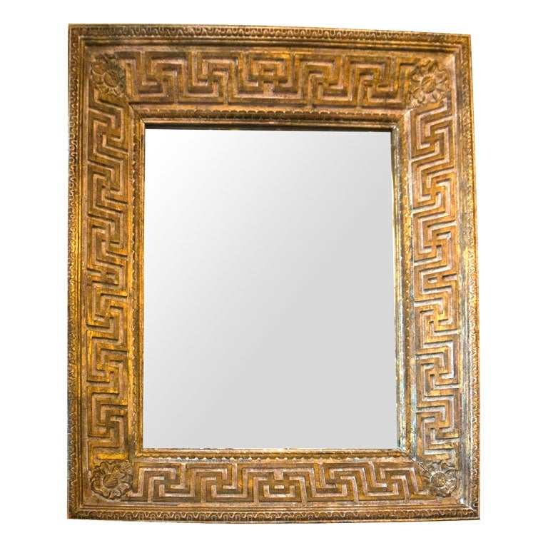 Gilt And White Ceruse Mirror And Frame With Greek Motifs